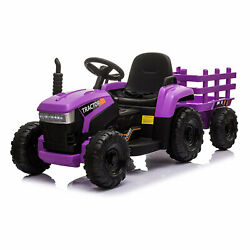 Tobbi 12v Kids Battery-powered Ride On Toy Tractor W/ Trailer Purple For Parts