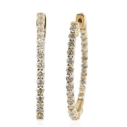 Hoops Hoop Earrings Ct 2 14k Yellow Gold White Diamond Gift H Color I3 Clarity