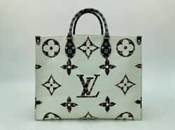 Louis Vuitton Limited Edition Giant Monogram Jungle Onthego Gm In White