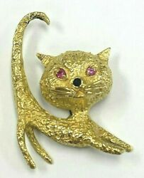 Vintage 18k Textured Gold Cat Pendant W/whiskers Ruby Eyes And Emerald Nose 9gr
