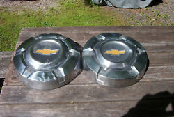 Oe Vintage Pair Of 69-76 Chevy C10 Stainless 10.5 Inch 1/2 Ton Dog Dish Hubcaps