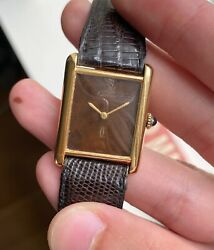 Vintage Tank Manual Wind Wood Spider Dial 18k Gold Electroplated Watch