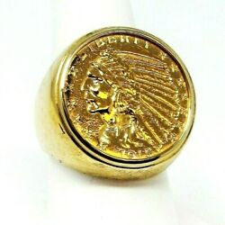 Ring Gold Coin 1915 United States 5 Head Profile Coin 14k Ring Bold Size 8.5