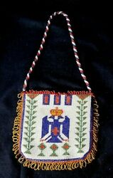 Vintage Beaded Native American Indian Leather Purse W Birds And Fringe W Date 1929