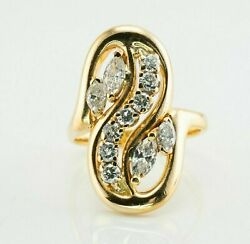 Diamond Ring 14k Gold Marquise Round Cut Vintage Video