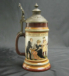 A Late 19th C. German Hr Hauber And Reuther 182 Lidded Beer Stein Mettlach Era