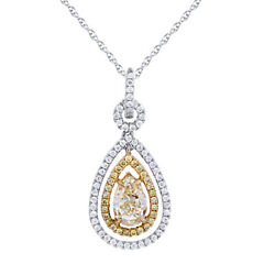 14k Two Tone Gold 1.51 Ct Yellow And Simulated Pear Shape Drop Pendant 18 Chain