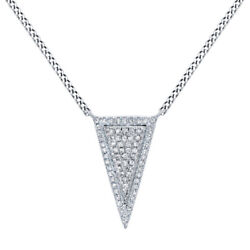 2/9 Ct Round Cut Simulated Solid 14k White Gold Long Triangle Pendant Necklace