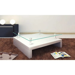 Vidaxl White Safety Glass Top Coffee Salon Accent Table Living Room Furniture