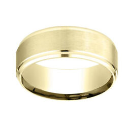 14k Yellow Gold 8mm Comfort Fit Drop Beveled Edge Carved Band Ring Sz 12