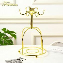 Tea Cup And Saucer Holder Stand Stainless Steel Gold Plated Birdcage Hang Rack