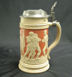 A 19th C. Villeroy And Bochs Mettlach Lidded Beer Stein 2278 Sport And Excercise