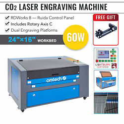 Omtech 60w 24x16in 60x40cm Co2 Laser Engraver Engraving Cutter W. Rotary Axis C