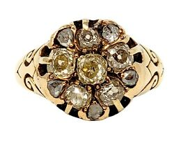Ring Diamond Old Mine Vintage Cluster Band 14k Yellow Gold 1.40 Ctw Size 7.5