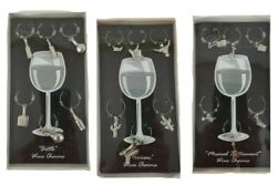 Top Shelf Set 6 Wine Glass Charms Mexico Western Bottle Flask Musical Instrument