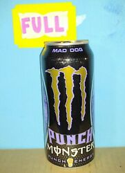 Rare Monster Energy Punch Mad Dog Sku 1215 Silver Top Full Sealed 16oz Can