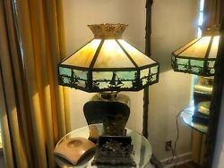 40and039s Old Stained Glass 23 Dia X 1and039 Hi Lamp Shade Nautical Sampan Boats Xlnt