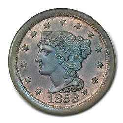 1853 1c Braided Hair Cent Ngc Ms65rb N-3 Cac