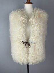 Vintage Lamb Curly Fur Vest Size M Braided Leather Tie Front Satin Lined Boho