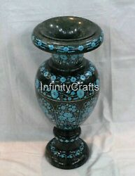 Marble Planter Turquoise Gemstones Inlaid Decent Look Table Master Piece 21 Inch
