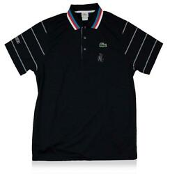 Match Used Andy Roddick Front Signed Black Lacoste Tennis Shirt 2010 Australian