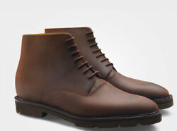 John Lobb Forge Brown Roughout Waxed Suede Leather Boots Uk 10 E 11 Us 1600