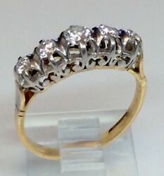 Antique Edwardian Five Stone Diamond Anniversary Ring Band Solid 18k Multi Gold