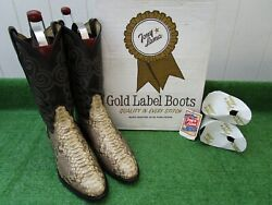 Vintage Tony Lama 'gold Label Boa Constrictor 'rare Exotic Western Boot 13 D