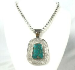 Navajo Lone Mountain Turquoise Oasis Sterling Silver Necklace Nathan Lefthand