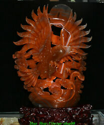 17'' Unique Natural Red Agate Onyx Handwork Carving Eagle Hawk Bird Wave Statue