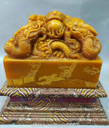 8.6old Natural Shoushan Stone Carved 3dragon Dynasty Imperial Seal Stamp Signet