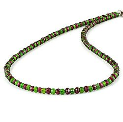 Natural Chrome Diopside Garnet Faceted Beads Necklace Silver Handmade Jewelry