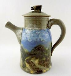 Signed Studio Art Pottery 1986 Teapot With Pig Lid Farm Fields Design 8.5 In Vg