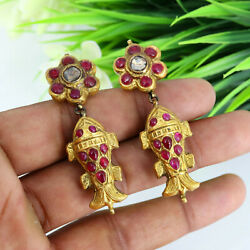Antique 1900s Late Victorian 22k Gold Earrings Ruby And Diamond Gemstone Earrings