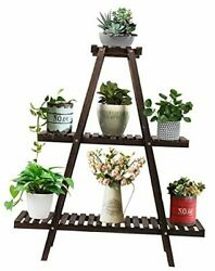 3 Tier Wood Plant Stand, Large Multi Tiered Plant Shelf For Multiple Plants,