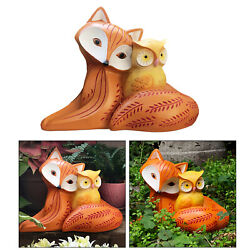 Resin Owl And Fox Figurine Statue Festival Gifts Patio Yard Art Ornaments