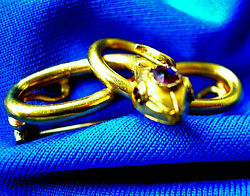 Real Deco Vintage 14k Gold Ruby Eyes And Crown Antique Pin Estate Brooch Serpent