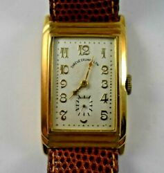 Vintage Movado 14k Solid Gold Shreve Crump And Low Dial Tank Watch Runs Lot.e