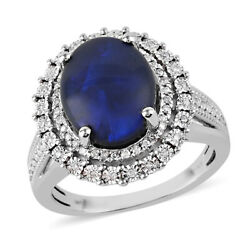 14k White Gold Black Opal White Diamond Halo Ring Gift Ct 5 H Color I3 Clarity