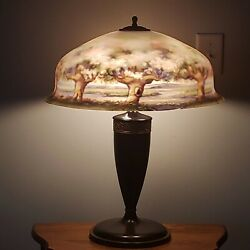 Massive 20 Pairpoint Cherry Blossom Tree Scene Reverse Painted Table Lamp