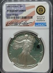 1986-s Ngc Pf70 Ucam American Silver Eagle 1 Miles Standish- Proof Ultra Cameo