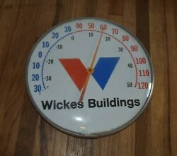 Vintage Wickes Buildings Farm Barn Glass Cover Round Advertising Thermometer