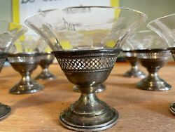 Sherbet Dishes Bowls Cups Cut Crystal Inserts In Silver Bases Set 12 Sherbert