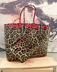 Christian Louboutin Large Cabata Empire Leopard Patent Leather Tote
