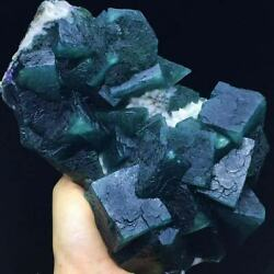 1445g New Find Larger Particles Deep Blue/green Cubic Fluorite And White Quartz