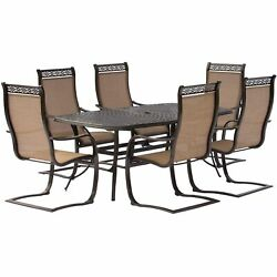 Hanover Mandn7pcsp-p Manor Six C-spring Chairs And A 72 X 38 Cast-top Table O...