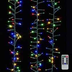 Raz Imports 19.6' Cluster Garland Green Wire, 600 Multi Lights And Remote