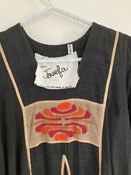 Vintage Bohemian Black Dress with Gold Piping and Red Orange Embroidery AS IS