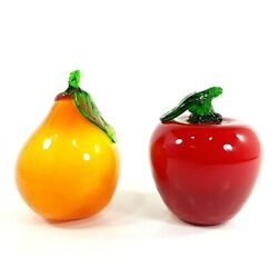 Faux Fruit Apple And Pear Glass Art Life Size Artificial Kitchen Decor 4 Lot Of 2