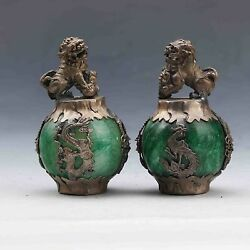 A Pair Chinese Old Jade Handwork Armor Tibet- Silver Carved Dragon Lion Statue W